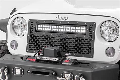 jeep light bar grill mesh replacement grille with 20in led light bar for 2007