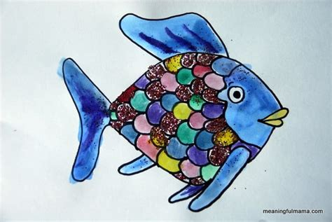 rainbow fish template water bottle fish craft