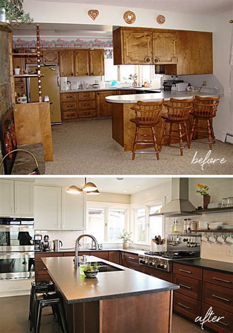 kitchen makeover before and after pretty before and after kitchen makeovers 8349