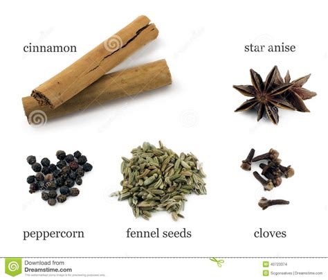Chinese Five Spice Powder Ingredients Stock Photo Image