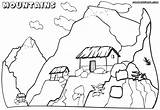 Coloring Mountain Mountains Pages Scenery Children Tiny Houses Nature Mountain1 sketch template