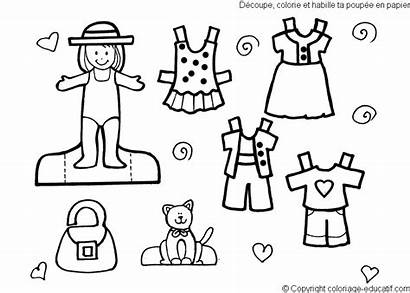 Coloring Pages Clothes Cut Paper Dolls Summer