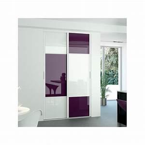 kazed 2 portes karacter 2 verre prune et blanc achat en With porte placard coulissante verre depoli