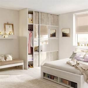 Porte Coulissante Miroir Placard : porte de placard coulissante bois nacre miroir argent ~ Premium-room.com Idées de Décoration