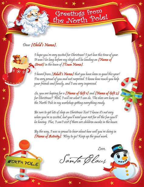 letter from santa template santa is proud letter template 28669