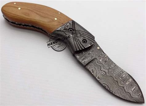 wooden handle kitchen knives damascus folding liner lock knife damascus folding knife