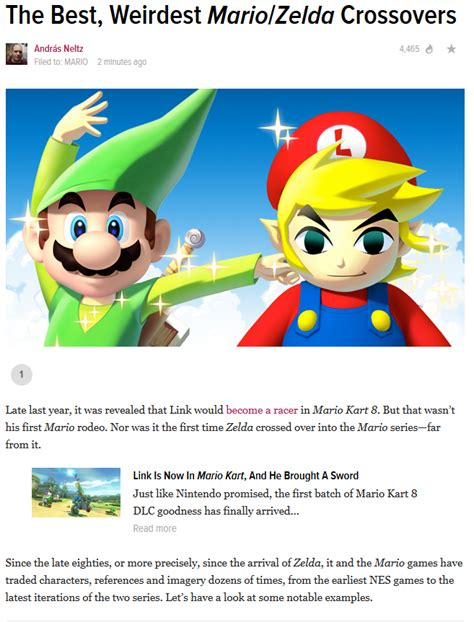 Kotaku Mario And Link Crossover Over The Years Zelda