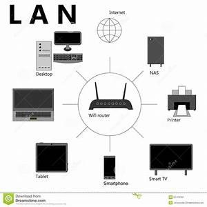 Lan Scheme Stock Vector  Image Of Laptop  Notebook