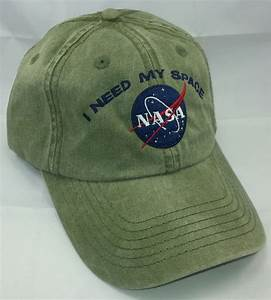NASA I Need My Space Embroidered Baseball Hat /Olive w/ Navy