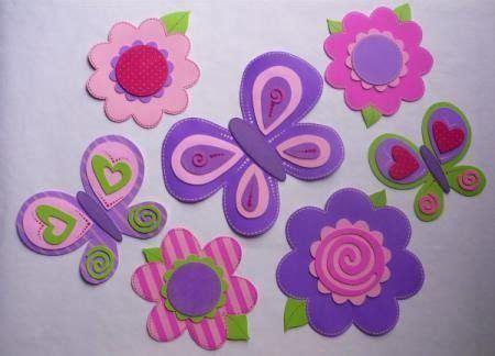 Flores y mariposas con goma eva Manualidades
