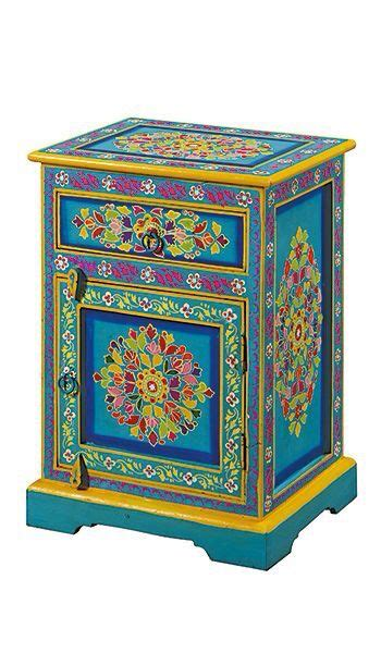 hand painted indian bedside cabinet hand painted