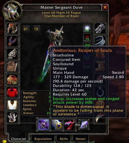 souls reaper wow rogue warcraft sword atiesh hand thunderfury main expiring wielding dual legendaries battle