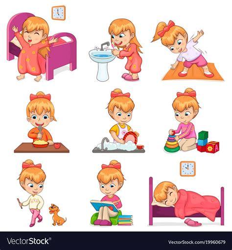 girl brushes teeth exercises  morning eats