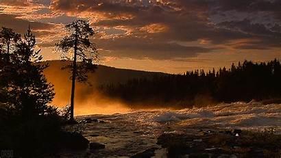 River Dawn Mist Naturaleza Movimiento Cinemagraph Gifs