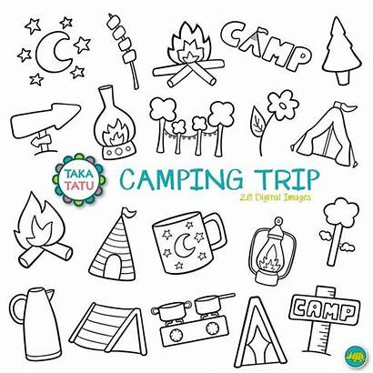 Camping Doodles Trip Clipart Clip Vacation Drawing