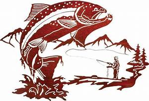 trout reflections rustic metal wall art rustic artwork With kitchen cabinets lowes with fly fishing metal wall art
