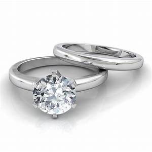 Six prong solitaire diamond engagement ring matching for Wedding band for engagement ring