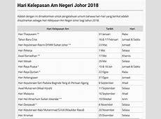 Takwim Cuti Umum Johor 2018