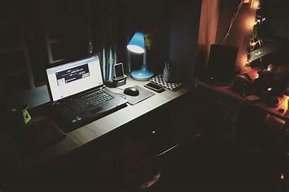 Laptop Dark Desk Computer Lamp Wallpapers 4k