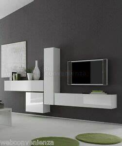 Parete attrezzata sospesa box 6 porta tv mobile soggiorno sospeso bianco lucido ebay for Mobile soggiorno bianco lucido