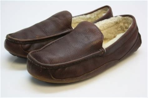 mens ugg australia brown leather fleece lined house shoes