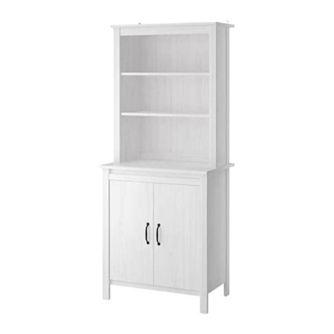 Ikea Kitchen Cabinet Doors White by Brusali High Cabinet With Doors White Ikea