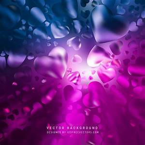 Abstract Romantic Blue Purple Hearts Background ...