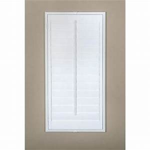hampton bay plantation 3 1 2 in louver off white real With interior plantation shutters home depot