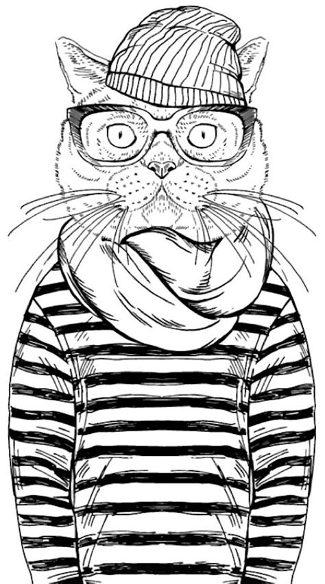 cool cat coloring page  cleverpediacom adult