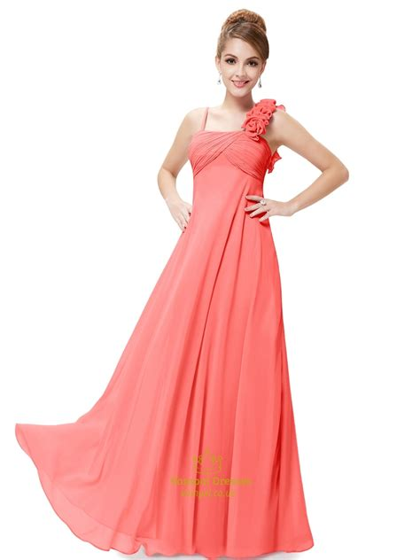 orange spaghetti strap chiffon bridesmaid dresses