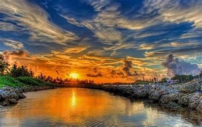 Sunset Hdr Glorious Wallpapers Nature Desktop Orange