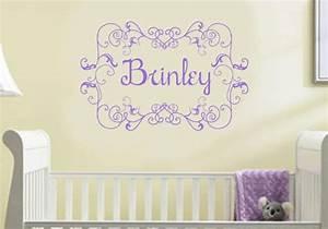 Wall decal baby girl nursery monogram name vinyl lettering