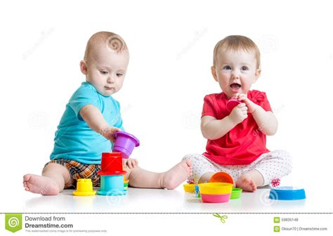 Cute Babies Playing With Color Toys Children Girl Stock