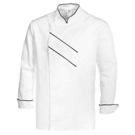 grand chef de cuisine veste cuisine grand chef blanc avec passepoil et rayures noir
