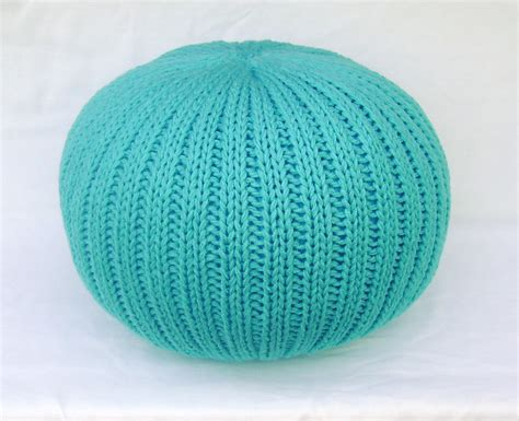 Knitted Pouf Ottoman by Knitted Pillow Pouf Ottoman Turquoise