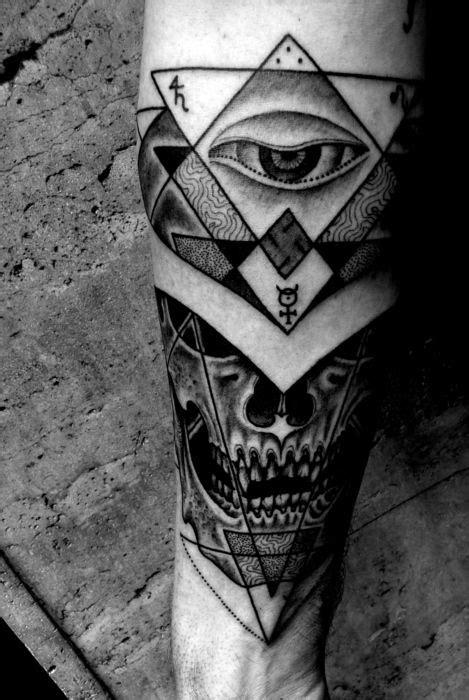 Jondix Holytrauma tattoo with alchemy, eye, skull, sacred geometry | Occult Tattoos | Tattoos