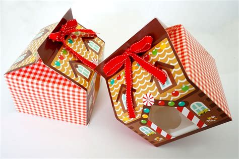christmas house candy box  hole cupcake packaging
