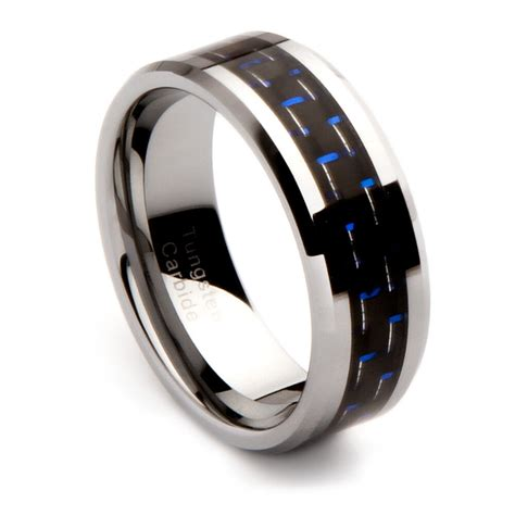 mens tungsten carbide wedding band with black and blue carbon fiber inlay 8mm ebay