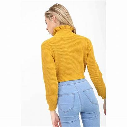 Jumper Mustard Yellow Frill Knitted Neck Cropped