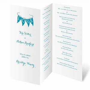white trifold program invitations by dawn With wedding invitation program online
