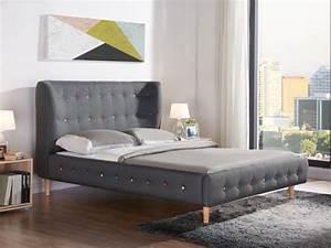 Lit Scandinave 160x200 : lit serti 140x190 cm ou 160x200 cm bois et tissu gris ~ Teatrodelosmanantiales.com Idées de Décoration