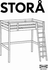 Ikea Stora Loft Bed Frame Full Double Assembly Instruction