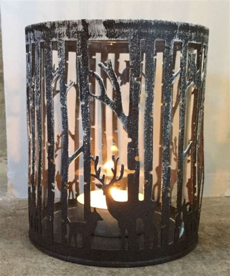 3941 l candle holder grey metal silhouette forest tea light candle holder snow