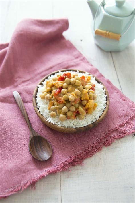 cuisiner coco plat patates douces aux pois chiches et poivrons sauce coco
