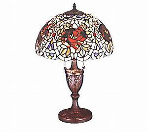 Tiffany style 24quoth renaissance rose lamp qvccom for Tiffany floor lamp qvc