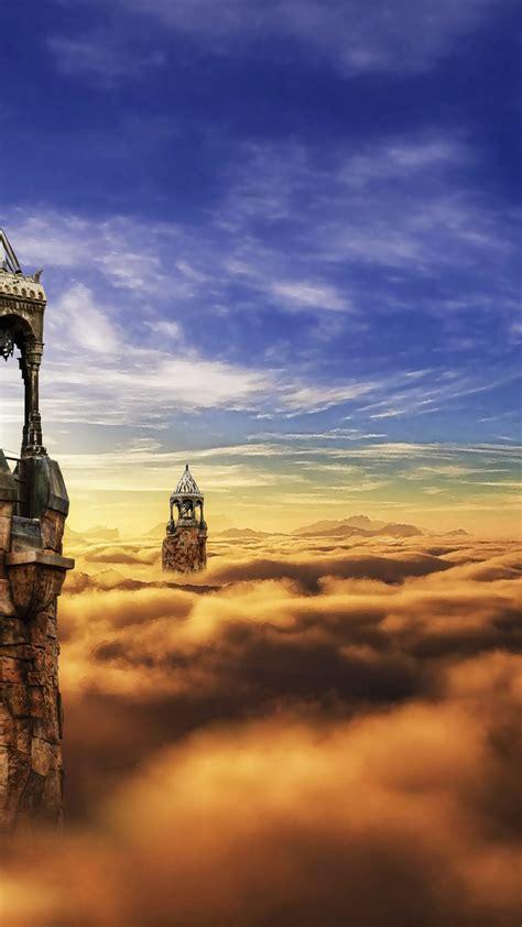castle towers   sky fantasy  uhd wallpaper