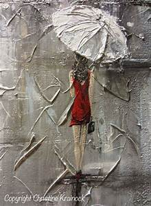 ORIGINAL Art Abstract Painting Girl Red Umbrella White Red ...