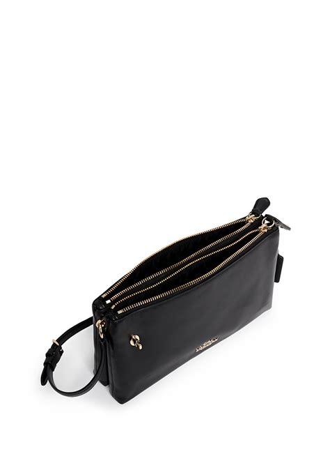 coach crosby double zip leather crossbody bag  black lyst