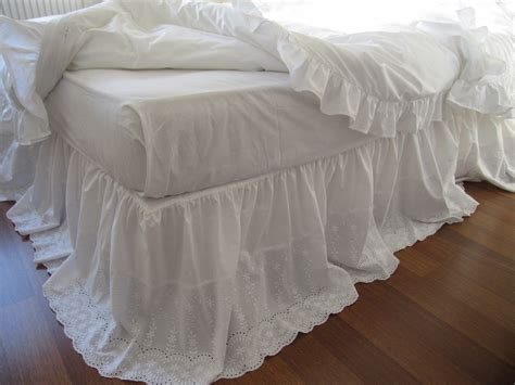 shabby chic bedskirt lace bed skirt bedskirt white eyelet lace cotton dust ruffle