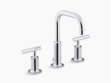 purist widespread sink faucet with low lever handles k